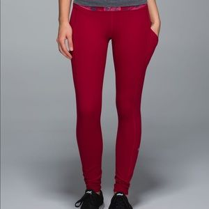 Lululemon Brushed Speed Tights Deepest Cranberry